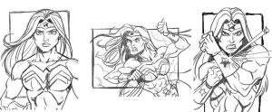 Wonder Woman sketch card rough pencils by CharlesEttinger