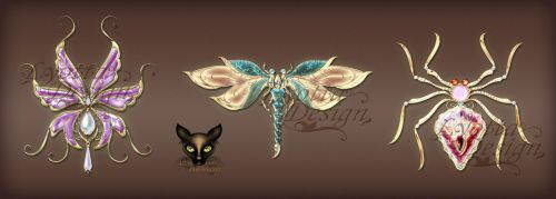 Jewelry design insects with precious stones by Lyotta