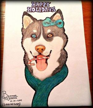Siberian Husky (Holiday Card) by RetroReginald