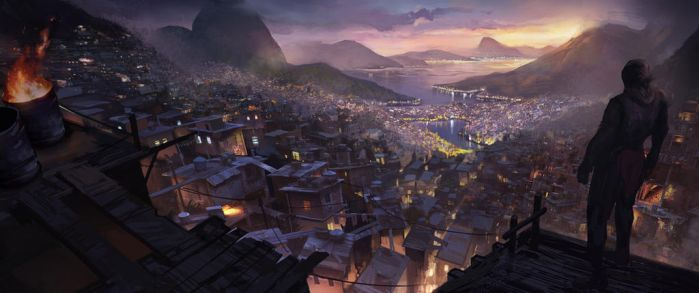 Favela night scene in Rio by Olabukoo