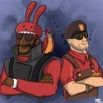 Demoman and Engineer by MugiwaraWolf