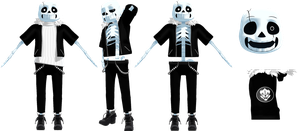 MMD Gaster Sans (DL) by KittyNekkyo