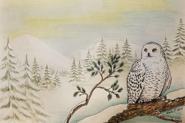 Wintery Christmas card 2017 - Snowy Owl by ImaginaryKarin