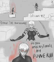9S (corrupted) vs A2 (HIGH GROUND) by sixpathsoffriendship