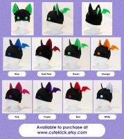 Bat Hat With Eyes - Black and Brights Neon Rave by cutekick