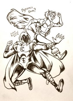 Moon Knight and Squirrel Girl by AndrePaploo