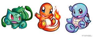 Bulbasaur/Charmander/Squirtle Charms by treespeakart