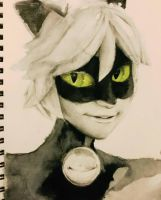 Inktober day 1 - Cat Noir by My-Magic-Dream