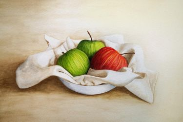 Three Apples in Light Dish by Itherin