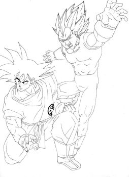 WIP: Son Goku and Vegeta by Sakuchane
