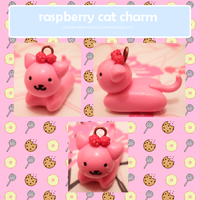 raspberry cat charm by MiniatureTemptations