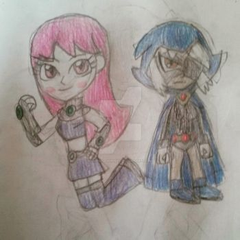 Jinx and Rose as Starfire and Raven by TobiIsABunny