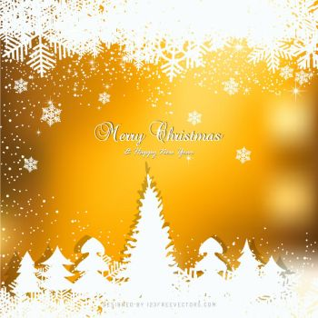 Orange Christmas Winter Background with Snow Tree by 123freevectors