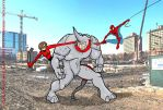 Elastigirl Spiderman and Rhino 1 by Inspector97