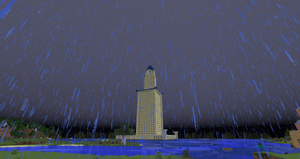 Minecraft - Lighthouse of Alexandria in a storm by MinecraftArchitect90
