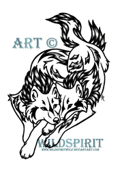 Wolves And Phoenix Tattoo by WildSpiritWolf
