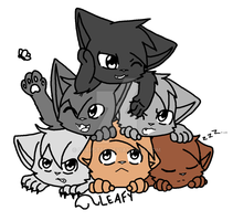 Kittens lineart by leafstep