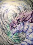 dragon in the valley watercolors by tikopets