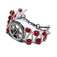 Steampunk Bracelet Red by CatherinetteRings