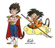Two Little Saiyans by wikigiuli
