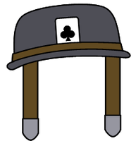 The helmet with an Ace of Clubs card by Belinda-Emily-Back