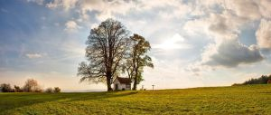 Baltersweil Chapel in Autumn - Panorama by OfTheDunes