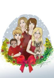 Commission: family Christmas! by FiaFreckles