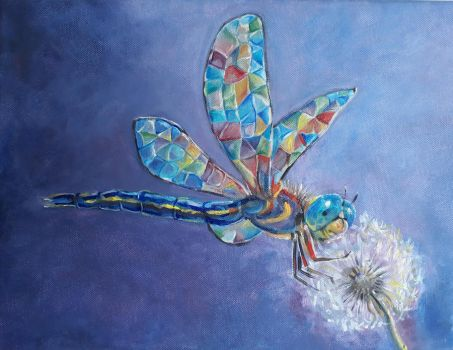 Stained glass dragonfly by Redilion