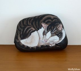Tabby and White Cat Stone by wolfysilver