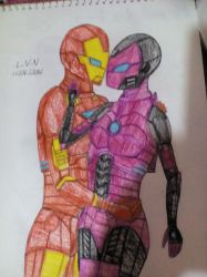 Iron Woman and Iron Man by LordVaderNihilus