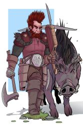 Dwarf and Boar by CallofTheDeep