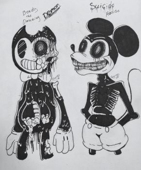 Bendy and suicide mouse by xXDragonfierXx