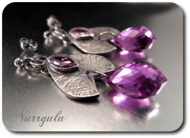 Blueberry plum and cherry silver earrings by nurrgula