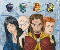 The Four Founders of Hogwarts by ArcaneAvis