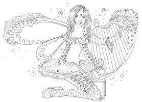 Harp Lineart by Violetris