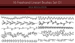 16 Freehand Lineart Brushes Set 01 by noema-13