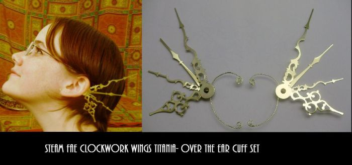 SteamFae Clockwork Wings Cuffs by pervyyaoifancier