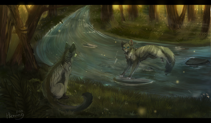 Last meeting:Graystripe and Silverstream by hioming