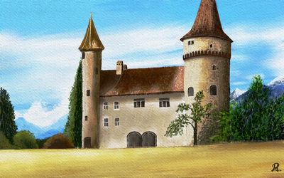 Castle in Watercolor by MarianthiZ