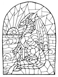 Inktober 13 (stained glass dragon) by AThousandRasps