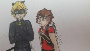 Chat Noir and Zak Storm by moonchild201