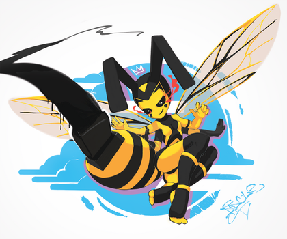 Wasp with ass-marker by Dipole128