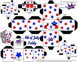 4th of July Teddy Bear Stars and Stripes Part 1 by SKGaleana