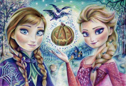 Anna and Elsa ( Halloween) by Alena-Koshkar