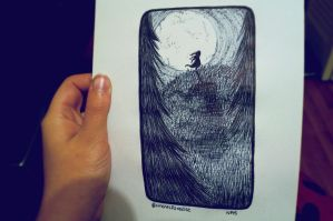 Inktober #13 | Look at the Moon by just-caro