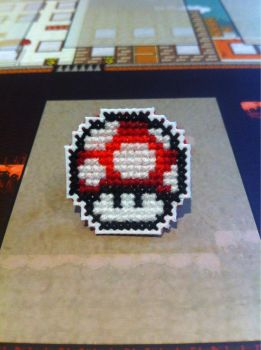 Red Mushroom cross stitch pin by fangy89