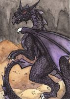 ACEO -- Black Dragon by Ayakitsune