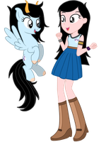 MonsturNao's Angel as Pony and Human by MelodyCrystel