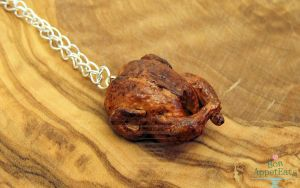 Roast Chicken Necklace by PepperTreeArt