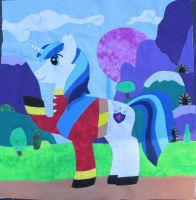 Shining Armor Charity Pony Quilt Square by The-Crafty-Kaiju